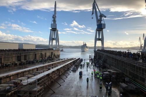 We attend to the launching of the first Navantia AOR ship to Australia